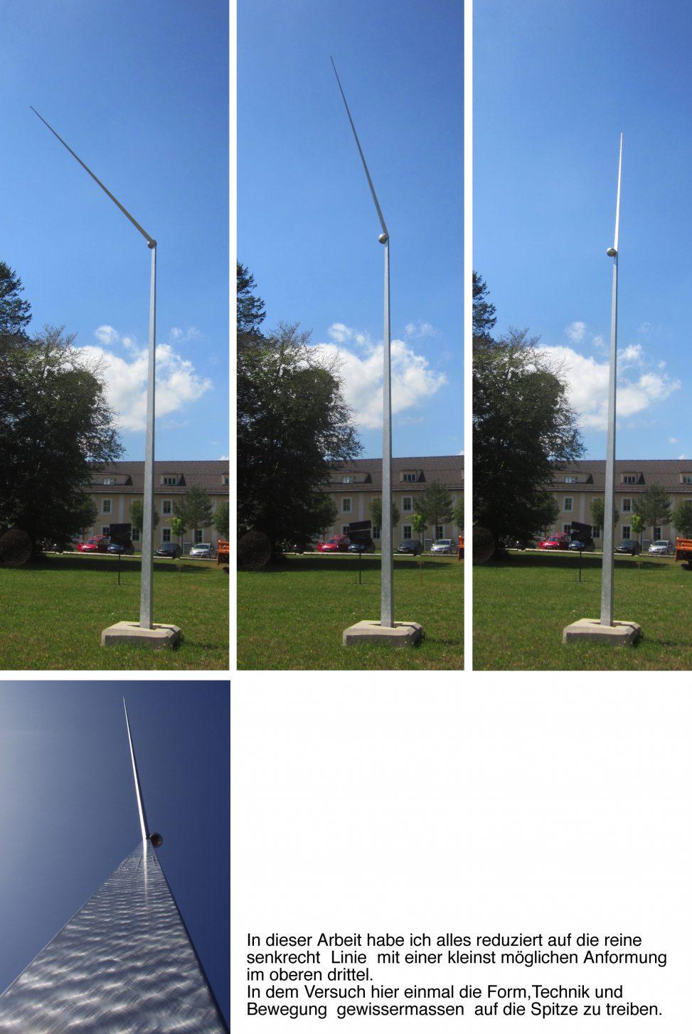 Kinetische Plastik Antrieb Wind; Höhe 9m Material Aluminium und Stahl; 2008 Privatbesitz